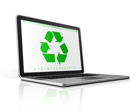 recycling logo: 3D Laptop computer with a recycling symbol on screen. environmental conservation concept Stock Photo