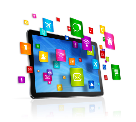 connection connections: 3D Tablet PC with flying apps icons - isolated on white Stock Photo