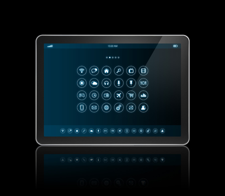 interface: 3D digital tablet with apps icons interface - isolated on black with clipping path
