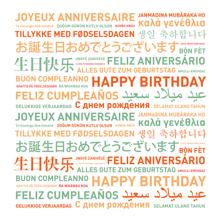 languages: Happy birthday from the world. Different languages celebration card