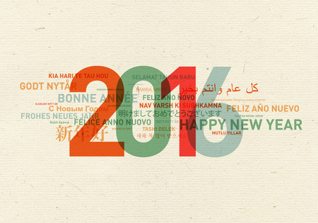 Happy new year card from the world in different languages