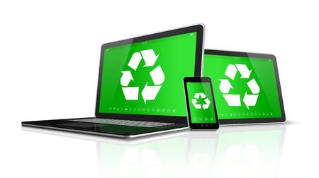 reciclar: 3D Tablet PC portátil y el teléfono inteligente con un símbolo de reciclaje en la pantalla. concepto de conservación del medio ambiente