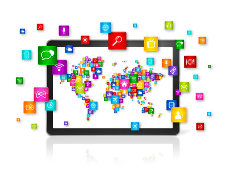background information: 3D World map made of icons on Tablet PC. Cloud computing concept Stock Photo