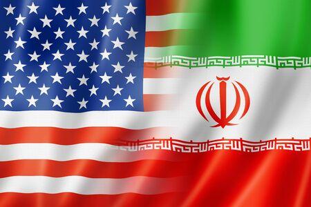 spangled: Mixed USA and Iran flag, three dimensional render, illustration Stock Photo