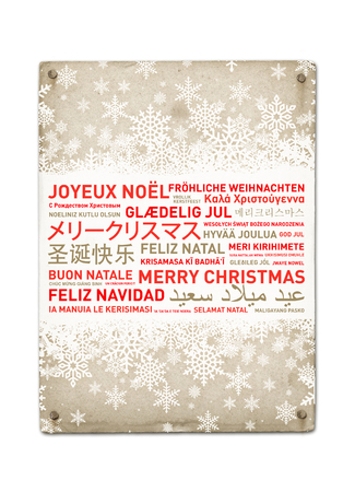 holiday celebrations: Merry christmas from the world. Different languages celebration vintage poster
