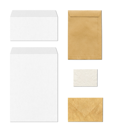 envelope: various envelopes mockup template isolated on white background Stock Photo