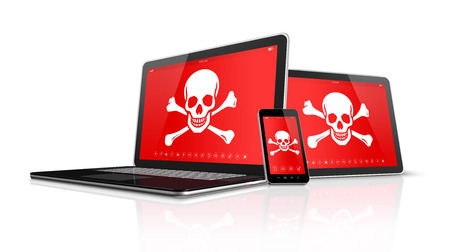computer virus: 3D Laptop tablet pc and smartphone with pirate symbols on screen. Hacking concept Stock Photo