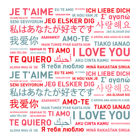 I love you message card translated in different world languages Stockfoto