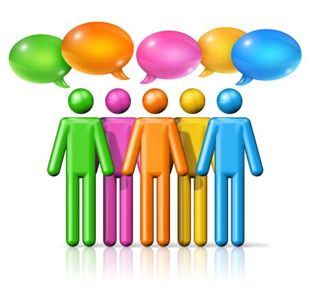 symbol people: three dimensional group of stick figures people with speech bubbles, communication symbol, colorful