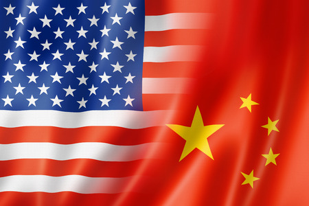 usa: Mixed USA and China flag, three dimensional render, illustration