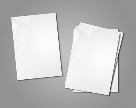 design office: white booklet covers isolated on background - mockup template