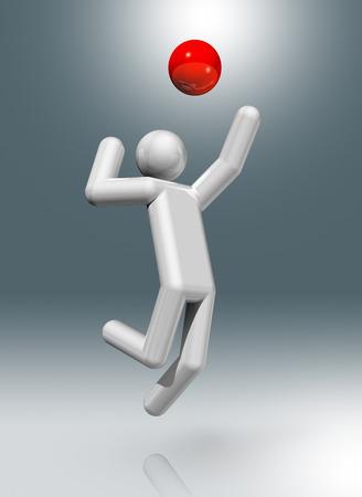 figura humana: tres s�mbolos de voleibol, juegos ol�mpicos dimensionales