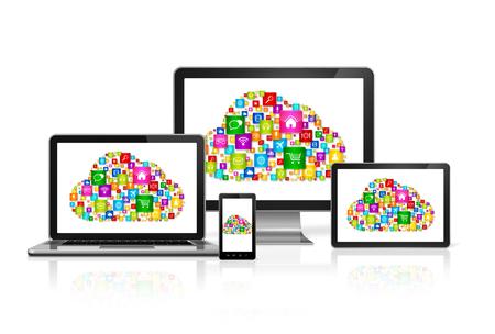 3D Cloud computing symbool in computer set Stockfoto