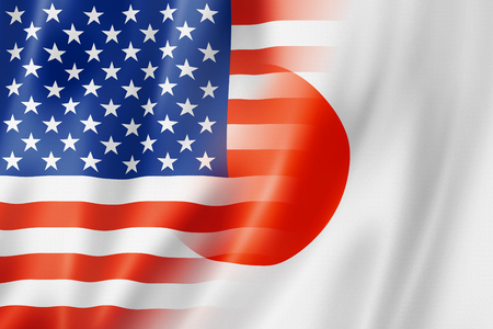 japanese currency: Mixed USA and Japan flag, three dimensional render, illustration Stock Photo