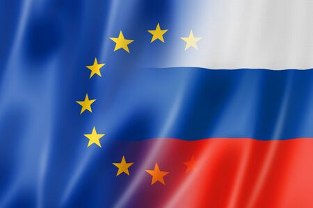 european community: Mixed Europe and Russia flag, three dimensional render, illustration