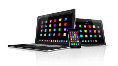 3D HIgh Tech computer apparaten. Smartphone, Digitale Tablet en Laptop geïsoleerd op wit met uitknippad Stockfoto - 47186681