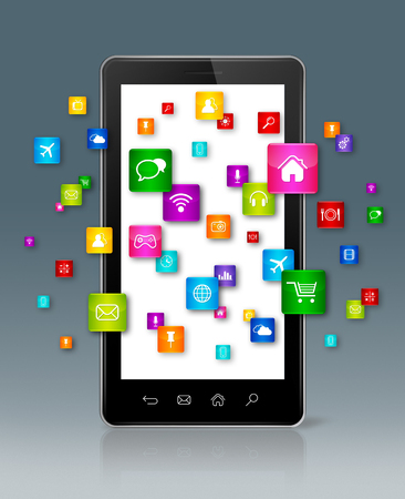smartphone apps: Apps icons flying around Smartphone - grey background Stock Photo