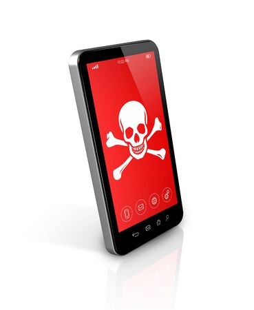 hack: 3D smartphone with a pirate symbol on screen. Hacking concept Stock Photo