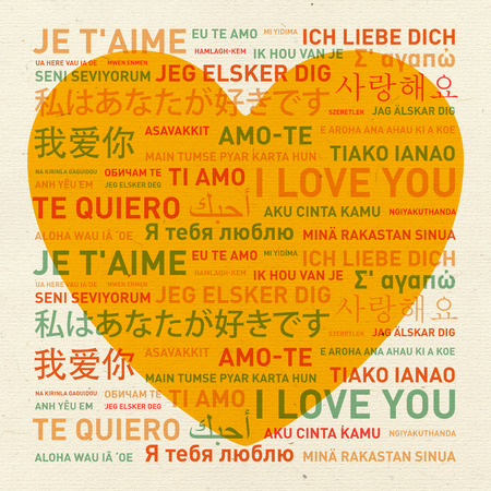 translated: I love you message translated in different world languages - vintage card Stock Photo