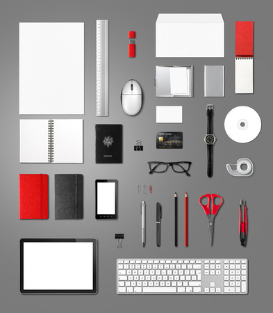 office supplies: Office supplies mockup template, isolated on anthracite background