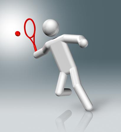 figure: three dimensional tennis symbol, olympic games Stock Photo