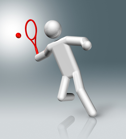 stick figure people: three dimensional tennis symbol, sports competition games Stock Photo