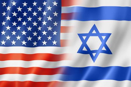 banderas america: EE.UU. e Israel Mixta bandera, tres de representación tridimensional, ilustración