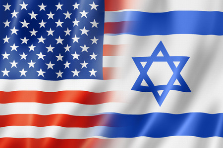 flag background: Mixed USA and Israel flag, three dimensional render, illustration