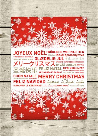 happy world: Merry christmas from the world. Different languages celebration poster