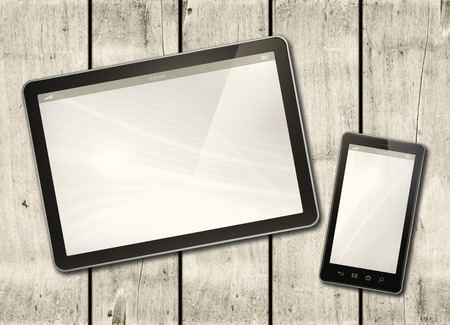 Smartphone and digital tablet PC on a white wood table - horizontal office mockup