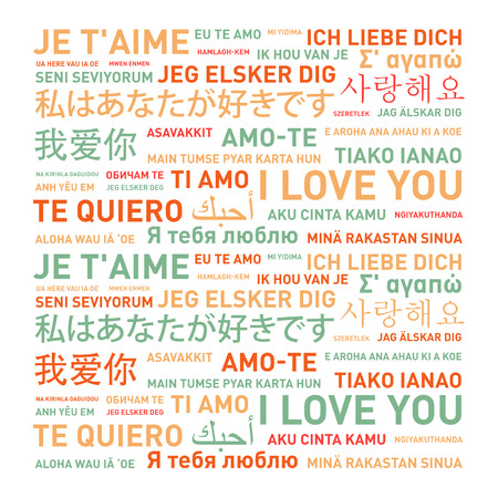 translated: I love you card translated in different world languages