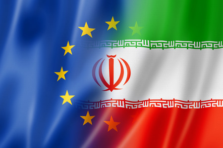 europe: Mixed Europe and Iran flag, three dimensional render, illustration