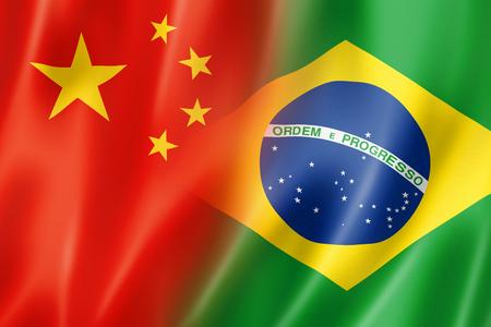 international crisis: Mixed China and Brazil flag, three dimensional render, illustration