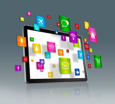 mosca: 3D Digital Tablet with flying apps icons - isolated on grey