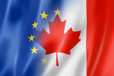 global finance: Mixed Europe and Canada flag, three dimensional render, illustration Stock Photo