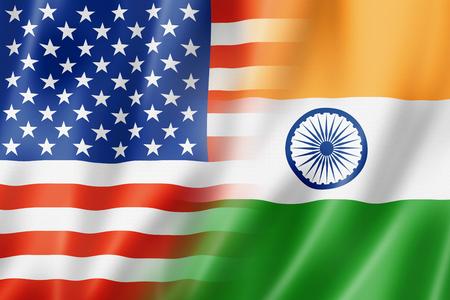 bandera de la india: Mezclado EE.UU. e India bandera, tres de representación tridimensional, ilustración