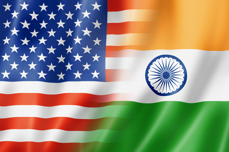 Mixed USA and India flag, three dimensional render, illustration