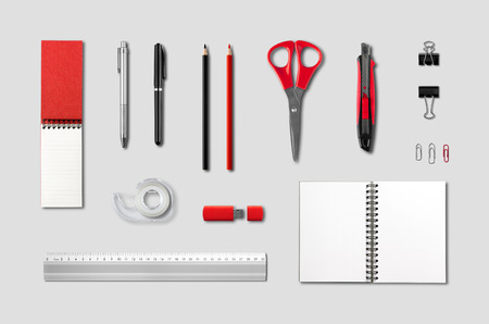 crayon  scissors: Stationery, office supplies mockup template, isolated on grey background Stock Photo