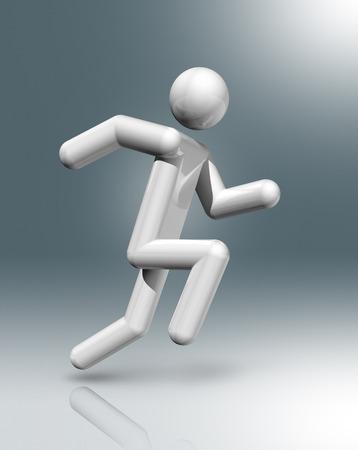 strichm�nnchen: dreidimensionale Leichtathletik Symbol, Olympische Spiele Lizenzfreie Bilder