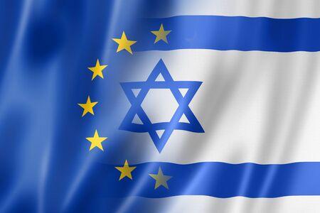 europa: Europa e Israel mixta bandera, tres de representación tridimensional, ilustración Foto de archivo