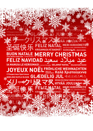 Merry christmas from the world. Different languages celebration card Standard-Bild