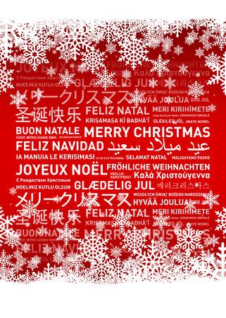 Joyeux Noël du monde. Différentes langues carte célébration Banque d'images - 49003818
