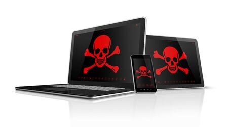 hacking: 3D Laptop tablet pc and smartphone with pirate symbols on screen. Hacking concept Stock Photo
