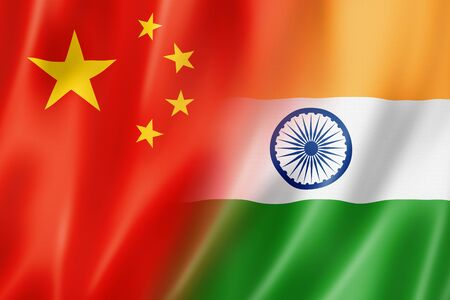 national flag: Mixed China and India flag, three dimensional render, illustration