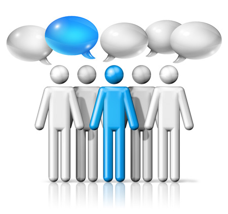 blue bubbles: three dimensional group of stick figures people with speech bubbles, communication symbol, white and blue