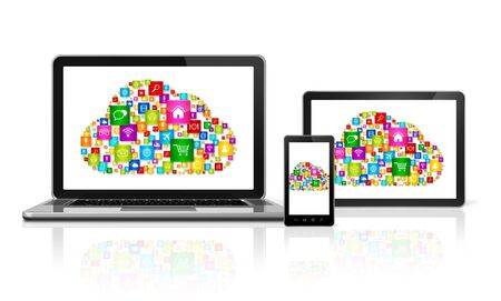 computer devices: 3D Cloud computing symbol in computer devices