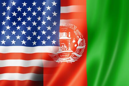 afghan flag: Mixed USA and Afghanistan flag, three dimensional render, illustration