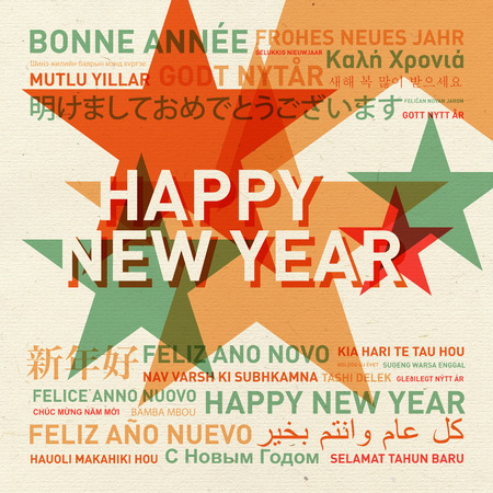 written text: Happy new year from the world. Different languages celebration card