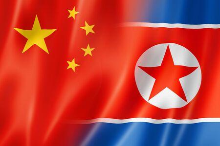 north china: Mixed China and north korea flag, three dimensional render, illustration