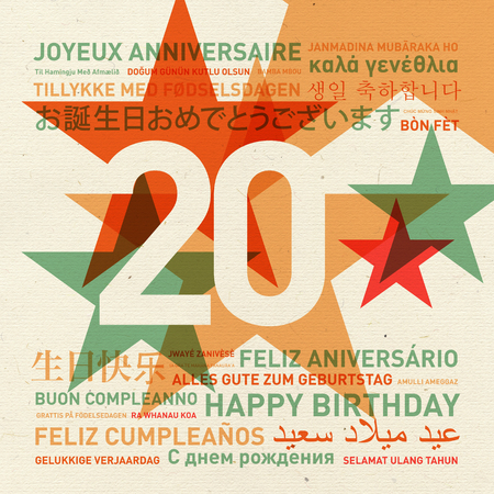 twentieth: 20th anniversary happy birthday from the world. Different languages celebration card